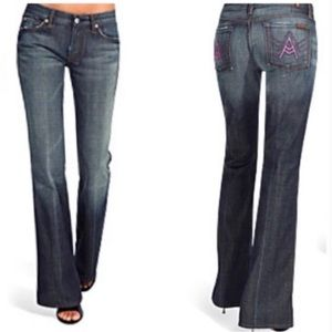 7 For All Mankind Pink A Pocket Flare Blue Jeans